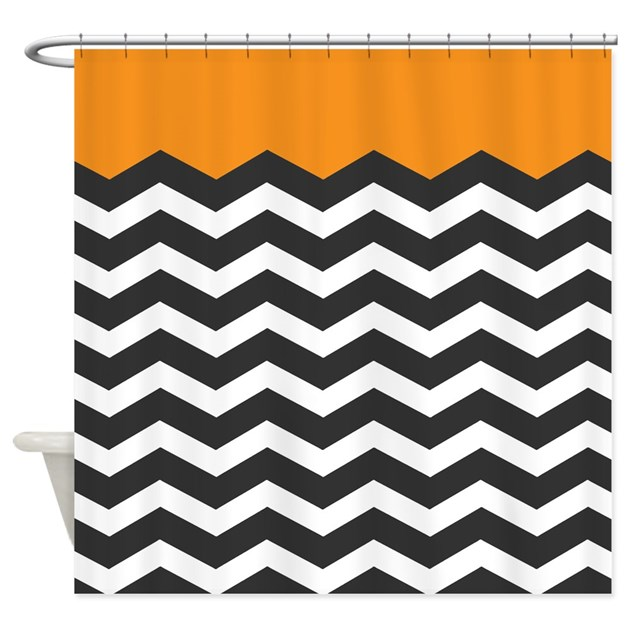 Orange Black And White Chevron Shower Curtain By Admin
