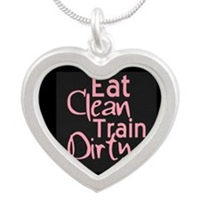 Eat Clean Train Dirty Silver Heart Necklace