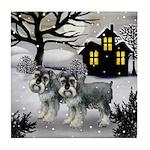 SCHNAUZER DOGs Snowy Day Tile Coaster