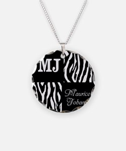 Black And White Animal Print Monogram Necklace