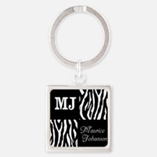 Black And White Animal Print Monogram Square Keych