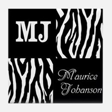 Black And White Animal Print Monogram Tile Coaster