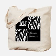 Black And White Animal Print Monogram Tote Bag
