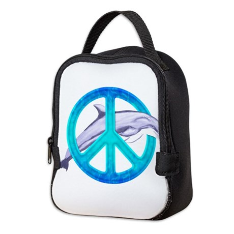 Dolphin Peace Neoprene Lunch Bag