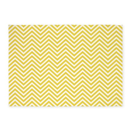 thin chevrons yellow white 5 39 x7 39 area rug by marshenterprises. Black Bedroom Furniture Sets. Home Design Ideas