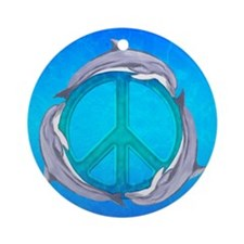 Dolphin Peace Ornament (Round)