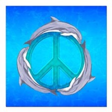 """Dolphin Peace Square Car Magnet 3"""" x 3"""""""