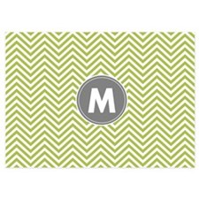 Lime Gray Chevrons Monogram Invitations