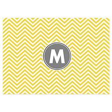 Yellow Gray Chevrons Monogram Invitations