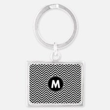 Black White Chevrons Monogram Keychains