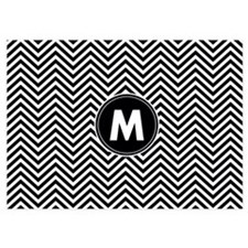 Black White Chevrons Monogram Invitations