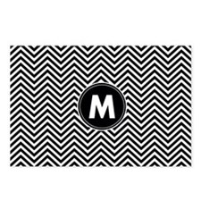 Black White Chevrons Monogram Postcards (Package o