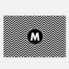 Black White Chevrons Monogram Postcards (Package o