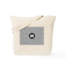 Black White Chevrons Monogram Tote Bag