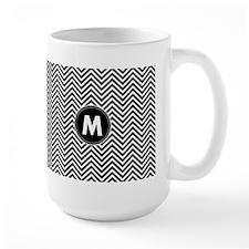 Black White Chevrons Monogram Mugs