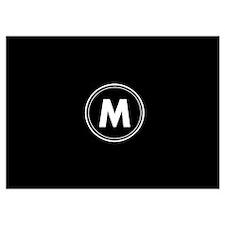Black White Mod Monogram Circle Invitations