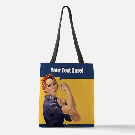 CUSTOM TEXT Vintage Rosie Polyester Tote Bag