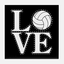 LOVE VOLLEYBALL BLK Tile Coaster
