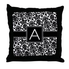 Damask Monogram Letter A Throw Pillow