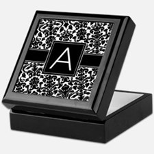 Damask Monogram Letter A Keepsake Box