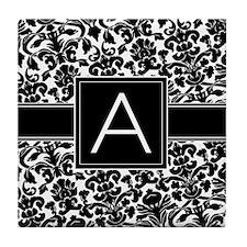 Damask Monogram Letter A Tile Coaster
