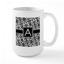 Damask Monogram Letter A Mugs