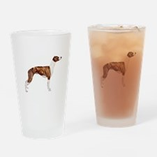 Whippet (brindle-Wht) Drinking Glass