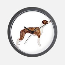 Whippet (brindle-Wht) Wall Clock