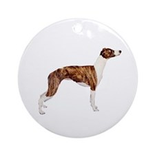 Whippet (brindle-Wht) Ornament (Round)