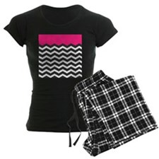 Hot Pink black and white Chevron Pajamas
