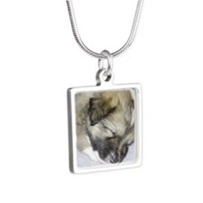 IcelandicSheepdog011 Silver Square Necklace