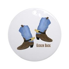 Cowboy Boot Ornament (Round)