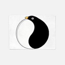 Yin yang penguin 5'x7'Area Rug