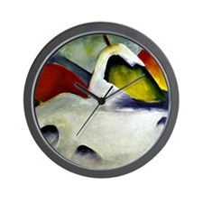 Haystacks in the Snow - Franz Marc pain Wall Clock