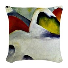 Haystacks in the Snow - Franz  Woven Throw Pillow