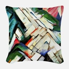 Franz Marc painting: Mountains Woven Throw Pillow