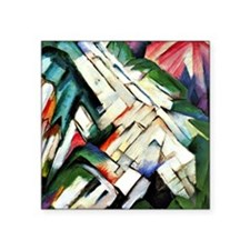 "Franz Marc painting: Mounta Square Sticker 3"" x 3"""