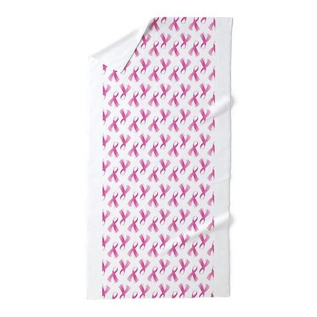 Breast Cancer Pink Ribbon Beach Towel