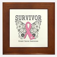 Survivor Butterfly Breast Cancer Framed Tile