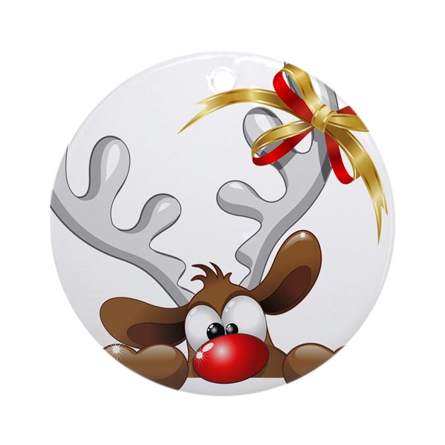 Funny Christmas Reindeer Cartoon Ornament Round By