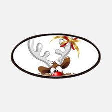 Funny Christmas Reindeer Cartoon Patches