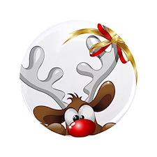 "Funny Christmas Reindeer Cartoon 3.5"" Button (100"