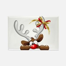 Funny Christmas Reindeer Cartoon Magnets