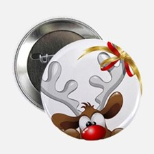 "Funny Christmas Reindeer Cartoon 2.25"" Button (10"