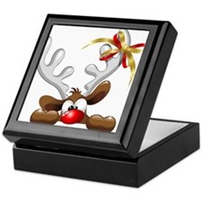 Funny Christmas Reindeer Cartoon Keepsake Box