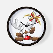 Funny Christmas Reindeer Cartoon Wall Clock