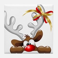 Funny Christmas Reindeer Cartoon Tile Coaster
