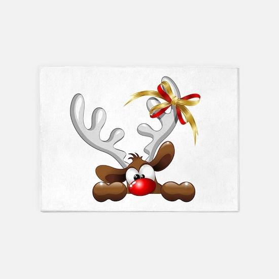 Funny Christmas Reindeer Cartoon 5'x7'Area Rug
