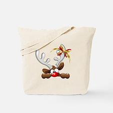 Funny Christmas Reindeer Cartoon Tote Bag