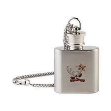 Funny Christmas Reindeer Cartoon Flask Necklace
